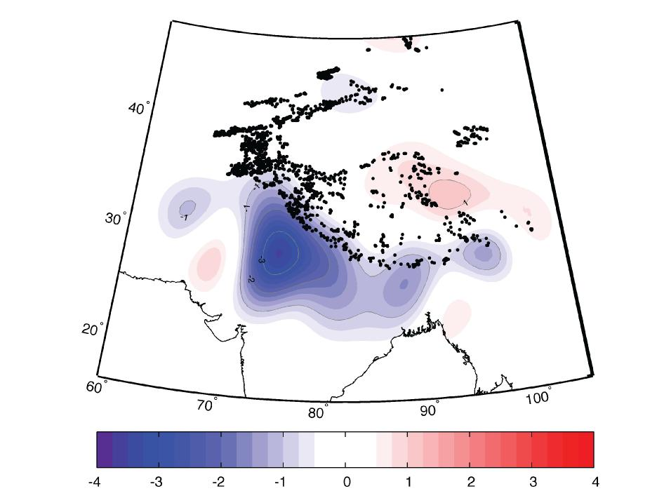 GRACE-derived ice mass changes, Indian subcontinent