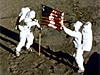 Aldrin and Armstrong with the U.S. flag on the Moon