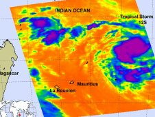 AIRS captured this infrared image of Tropical Storm 12S on February 9, 2012 at 09:41 UTC (4:41 a.m. EST).