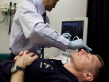 NASA astronaut Chris Ferguson, STS-135 commander, has his eyes imaged using ultrasound as he undergoes an eye examination at the Johnson Space Center Flight Medicine Clinic on Friday, March 11, 2011, in Houston. (NASA)