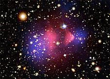 A colorful composite image of galaxy cluster 1E 0657-66