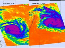 These two infrared images show the progression and intensification of Cyclone Giovanna on Feb. 11 and 12