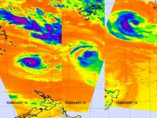 Images from AIRS show the progression and weakening of Cyclone Jasmine over three days.