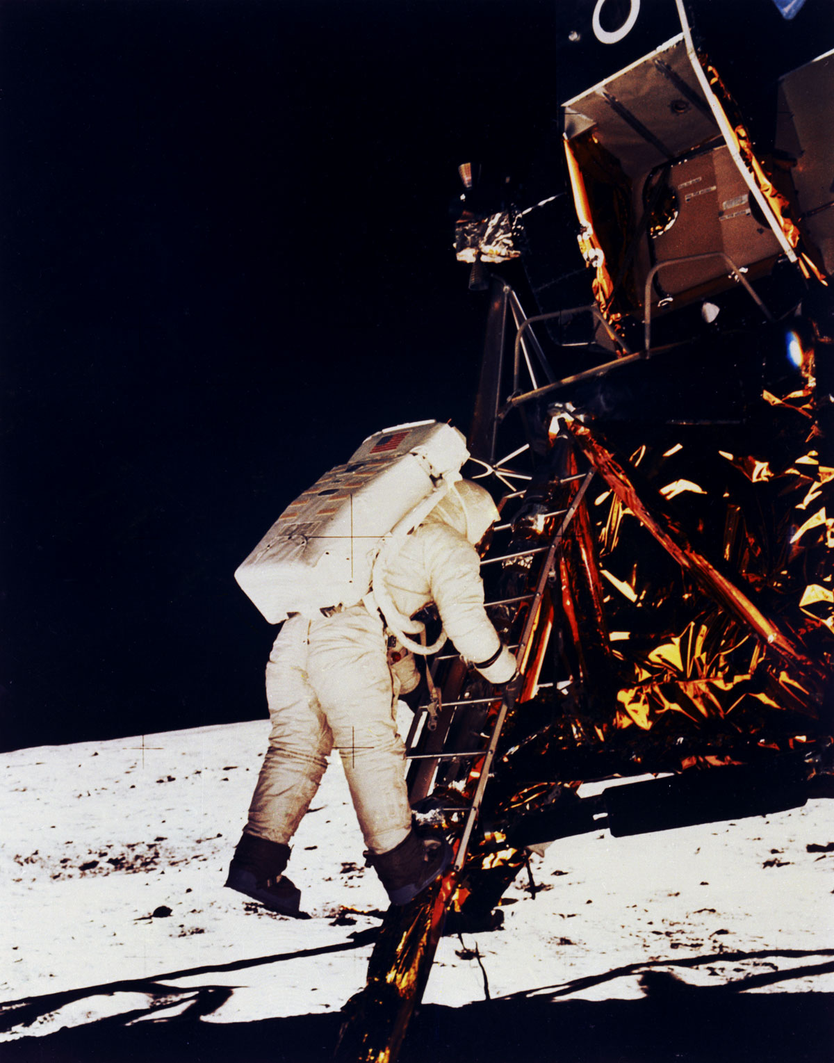 the importance of exploration continued buzz aldrin on ladder to lunar surface