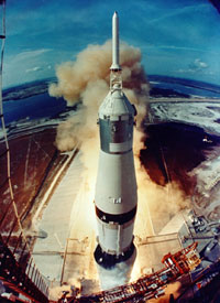 Saturn V rocket lifts off from Kennedy Space Center on July 16, 1969