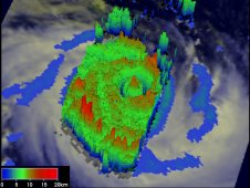 This 3-D image from TRMM satellite data from Feb. 12, 2012 shows the structure of Giovanna's double eye wall.