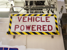 The vehicle powered sign is turned off after the final power down of space shuttle Discovery