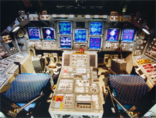 Discovery's brightly lit flight deck prior to being powered down