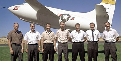 Neil Armstrong, at far left, in 1962 with fellow NASA Dryden pilots