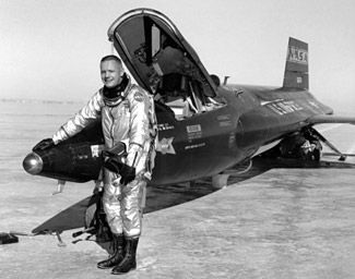 Neil Armstrong following an X-15 rocket plane mission in 1960.