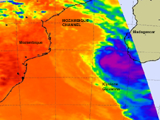 NASA's Aqua satellite passed over Tropical Storm Giovanna on February 16 at 11:23 UTC (6:23 a.m. EST) as it was moving south in the Mozambique Channel.