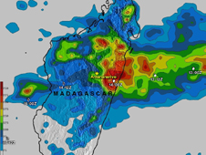 Cyclone Giovanna's rainfall from February 8-15, 2012, the highest rainfall totals of over 250mm (~10 inches) fell in the coastal area east of Madagascar's capitol of Antananarivo. In that area people were flooded out of their homes and deaths have been reported.  White symbols show the times and loc