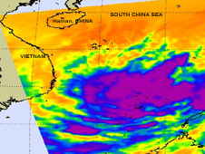 NASA AIRS instrument data revealed on Feb. 17 at 0541 UTC, that Tropical Depression 1W has a rapidly consolidating low pressure center, and bands of thunderstorms are wrapping into the center