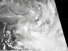 NASA's Aqua satellite captured this visible image of Tropical Storm 13S on Feb. 17, 2012 at 0854 UTC. The storm appears to be struggling to consolidate with the strongest convection (most clouds) over the southeastern quadrant.