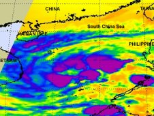 AIRS infrared image of Tropical Depression 1W on Feb. 17, 2012 at 1753 UTC (12:53 p.m. EST).