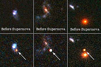 Three pairs of images, showing three galaxies before and after a supernova explosion within them.  First galaxy is a blue-white blob with a faint blue crescent-shaped fuzz running north-south.  The supernova appears as a red blob just below the center of the galaxy, in the middle of the southern fuzz.  Second galaxy is a faint misshapen spiral, with orange-red core and blue-purple arms.  The supernova is a white blob just below the galaxy's core.  The third galaxy is an orange-red ball, with the supernova appearing as a smaller orange-red blob just above it.