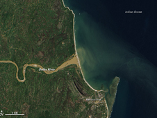 In February 2012, the Advanced Land Imager (ALI) on NASA's Earth Observing-1 (EO-1) satellite captured this natural-color image of the sediment-choked Onibe River on February 19, 2012.