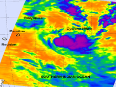 On February 21, 2012 at 2059 UTC (3:59 p.m. EST) the AIRS instrument on NASA's Aqua satellite captured an infrared image of thunderstorms in Cyclone Hilwa. The strongest thunderstorms with highest, coldest cloud tops were depicted in purple.