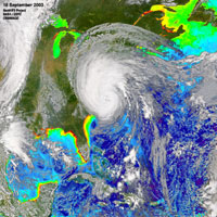 SeaWiFS took the following images of Hurricane Isabel on September 18th, 2003.