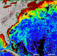 SeaWiFS took the following image of Hurricane Bonnie in August 1998.