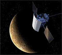 An artist's illustration shows the MESSENGER spacecraft at Mercury. The sunshade is a large, curved shield to protect the spacecraft's instruments.