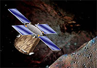 An artist's impression of the NEAR spacecraft descending to the surface of asteroid Eros.