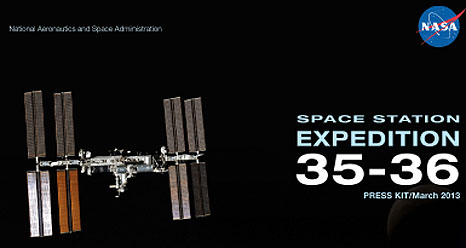 Cover of press kit with image of space station and title Expedition 35-36