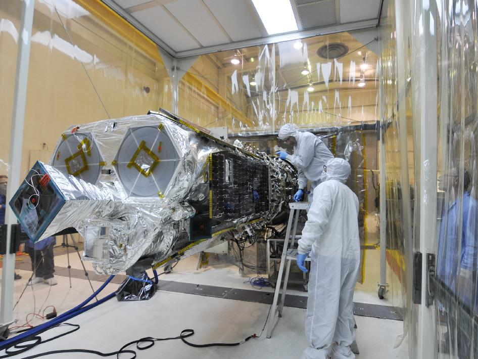 NuSTAR spacecraft inside an environmental enclosure at Vandenberg Air Force Base