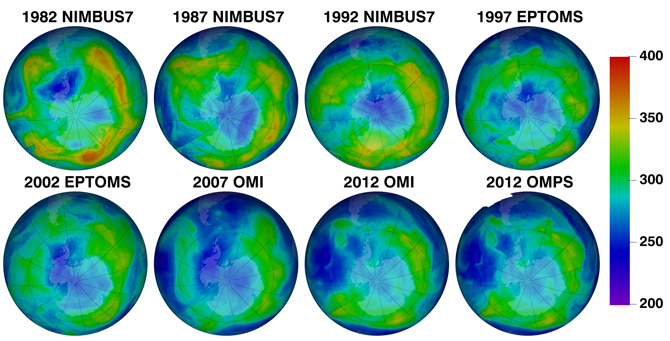 Chart of ozone maps and the instruments that captured them from 1982 to present