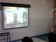 Students in Argentina speak with Project Coordinator Christopher Blair at NASA's Kennedy Space Center