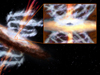 artist concept of galaxy and jets of its supermassive black hole