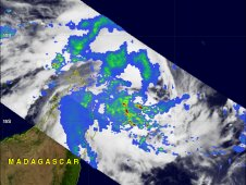 TRMM satellite shows rainfall in System 92S on Feb. 25 as it was approaching Madagascar.