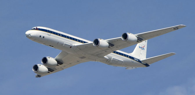 NASA DC-8 in flight.