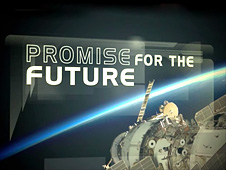 The words Promise for the Future shown beside a beam of light and a spacecraft