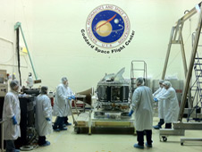Image of the GMI instrument arriving at Goddard