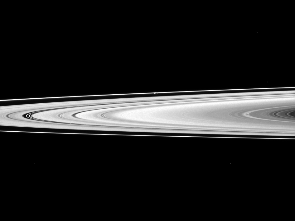 Saturn's rings and the moon Prometheus