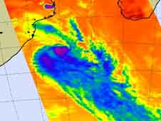 Infrared data from AIRS instrument on NASA's Aqua satellite on March 5 at 1105 UTC showed that most of the strongest thunderstorms and heaviest rainfall (purple) are occurring in the southern half of the storm.