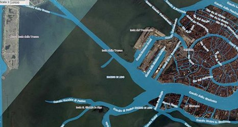Screen capture of the Atlas of the Lagoon with a portion of the canal system (bright blue) added as an additional layer. (NASA)