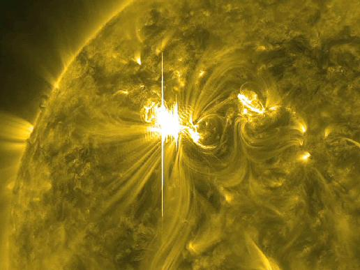 This image is from the March 6, 2012 X5.4 flare, captured by the Solar Dynamics Observatory (SDO) in the 171 Angstrom wavelength.