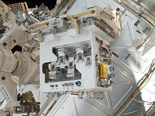 The Robotic Refueling Mission (RRM) module on the International Space Station before it was installed on its permanent platform. (NASA)