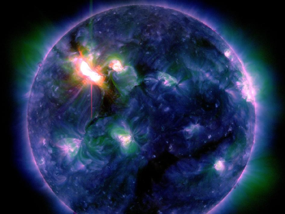 The March 6, 2012 X5.4 flare, captured by the Solar Dynamics Observatory (SDO) in multiple wavelengths.