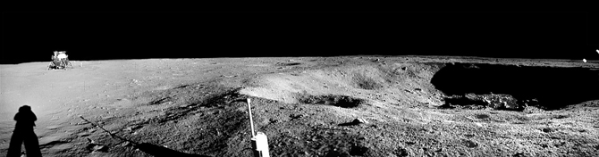 LRO satellite view of Apollo 11 landing site, with tracks labelled.