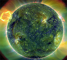 A colorful image of the sun