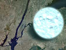 This illustration compares the size of a neutron star to Manhattan.