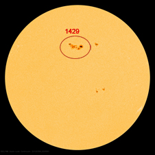 Active sunspot region 1429 continues to grow, currently measuring more than seven times wider than Earth.