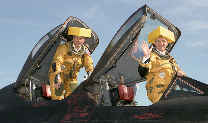 Meyer and retired NASA Dryden research pilot Ed Schneider as 'cheeseheads'