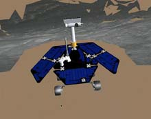 Image: Artist concept of Rover on martian terrain
