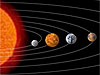 Portion of the solar system -- the Sun, Mercury, Venus, Earth and Mars