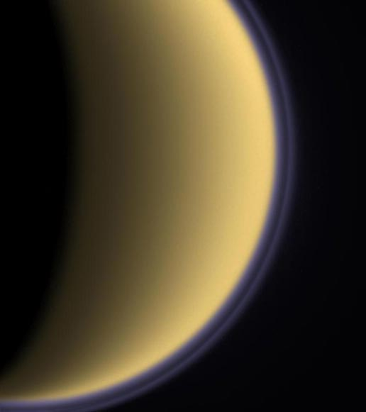 Colorized image of Titan