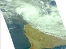 On March 16 at 0553 UTC AIRS captured this visible image of Tropical Cyclone Lau approaching the Pilbara coast.